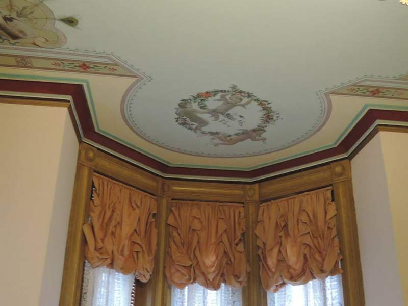 Decorative painted ceiling.